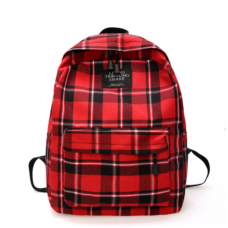 School Bags For Teenage Girls Backpack Women Bag Plaid Large Capacity Sactravel Backpack Casual Bookbag Cotton Mochila Mujer