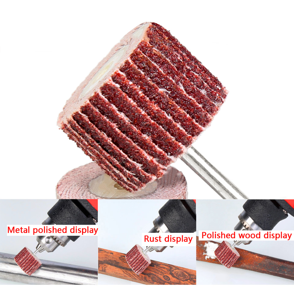 Good 10pcs Emery Cloth 240# Abrasive Sandpaper 10mm Grinding Flap Wheel Brushes For Woodworking Disc With 1 Mandrel