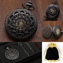 2016 Nuevo Reloj de Bolsillo de Acero Fijado Negro Mecánico de la Mano del Viento Fob Relojes Con Caja de Reloj de La Correa de Cadena de Bolsillo de Lujo regalo