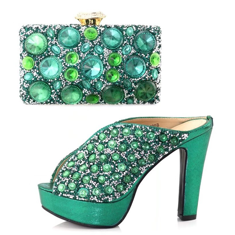 Teal green shoes and bag matching set with many big rhinestones italian newest fashion shoes and bag to match in party SB8121-4 cd158 1 free shipping hot sale fashion design shoes and matching bag with glitter item in black