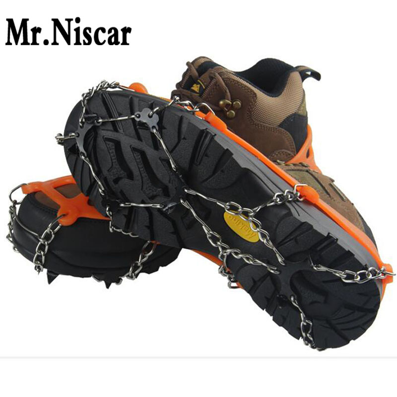 Mr.Niscar High Quality Sport Winter Antideslizante Patines de hielo Zapatilla de bota Apretones Crampon Chain Spike Sharp Snow Tamaño 35-45