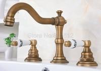 Antique Brass Bathroom Basin Faucet Widespread 3 Hole 2 Handle Mixer Tap Deck Mounted Wan072