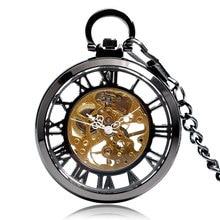 Steampunk negro esqueleto números romanos ver a través del reloj de bolsillo cuerda a mano mecánica reloj Fob con cadena Unisex regalo de Navidad