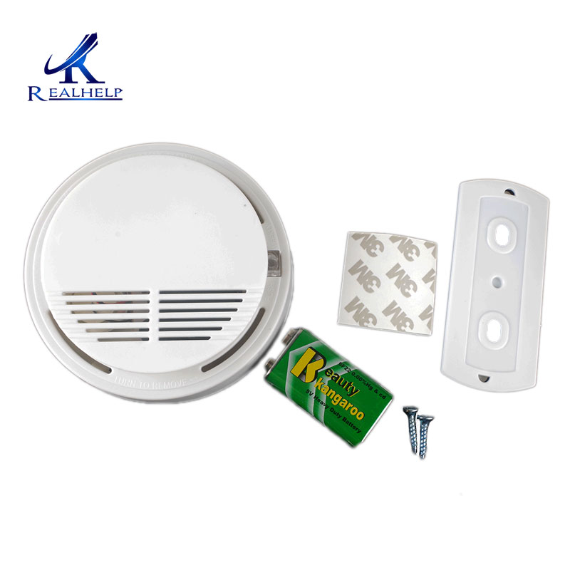 Smoke And Fire Alarm Detector With Test Button Easy Install Standard Tone Alarm Battery Operated With Battery Backup