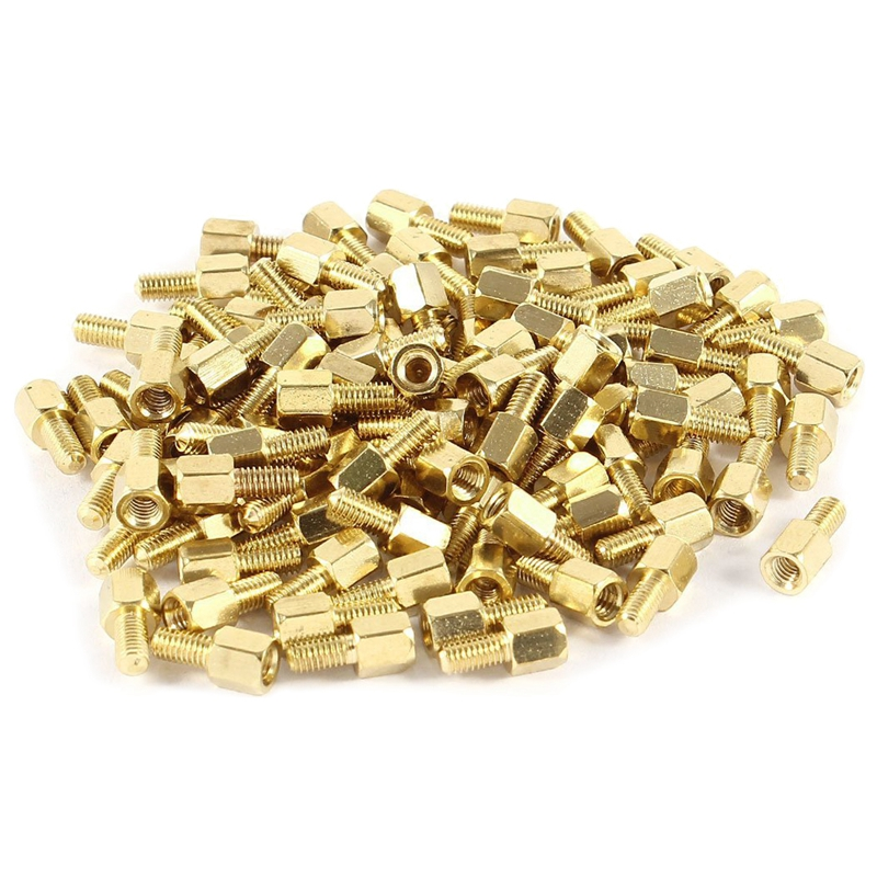 100pcs Brass Hex Standoff Spacer <font><b>Screw</b></font> Female to Male <font><b>5mm</b></font>+6mm <font><b>M3</b></font> 3mm image