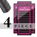 4 bandejas de pestañas todo tamaño J/B/C/D natural falsas pestañas extensión de pestañas de visón suave larga maquillaje 8-14mm envío rápido