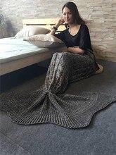 цена Charming Girl Child Knitting Air Conditioning Sofa Sleeping Blanket Acrylic Mermaid Blanket Soft Anti-Pilling Bedspreads on Sofa в интернет-магазинах