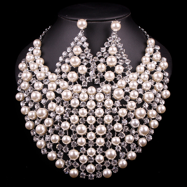 New Luxury Bridal Silver Plated Pearl Jewelry Sets Wedding Necklace Earring For Brides Party Prom Accessories Gift For Women