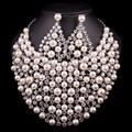 Nuevo Lujo Plateado Nupcial de La Perla Conjuntos de Joyas Collar Pendiente de La Boda Para Las Novias Partido Prom Accesorios de Regalo Para Las Mujeres