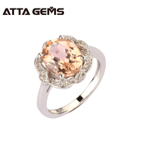 Morganite 925 Sterling Silver Women 3.55 Carats Morganite Silver Ring For Women Fine Jewelry Ring For Party Beryl Morganite Ring
