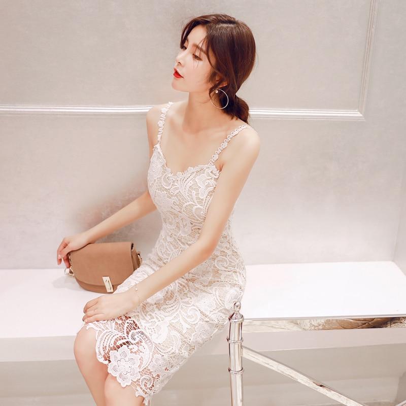 2019 femmes été dentelle robe formelle col en v élégant soirée robes blanches genou longueur Vestidos