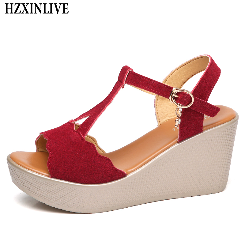 HZXINLIVE 2018 Sexy Summer Sandals for Women Wedges Shoes Woman High Heel Sandals Female Casual Shoes Ladies Sandalia Feminina hzxinlive elegant summer sandals women high heel wedges shoes woman round toe roman sandals ladies footwear female casual shoes