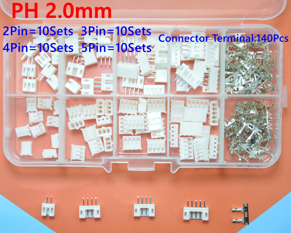 40 sets Kit in box 2p 3p 4p 5 pin 2.0mm Pitch Terminal / Housing / Pin Header Connector Wire Connectors Adaptor PH Kits 100sets lot connector ch3 96 molex 3 96 3pin 180 degrees top entry pitch 3 96mm pin header terminal housing ch3 96 3p