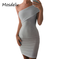 Mosdelu One Shoulder Knitted Sweater Dress 2017 Autumn Bodycon Dress Off The Shoulder Dresses Women Mini