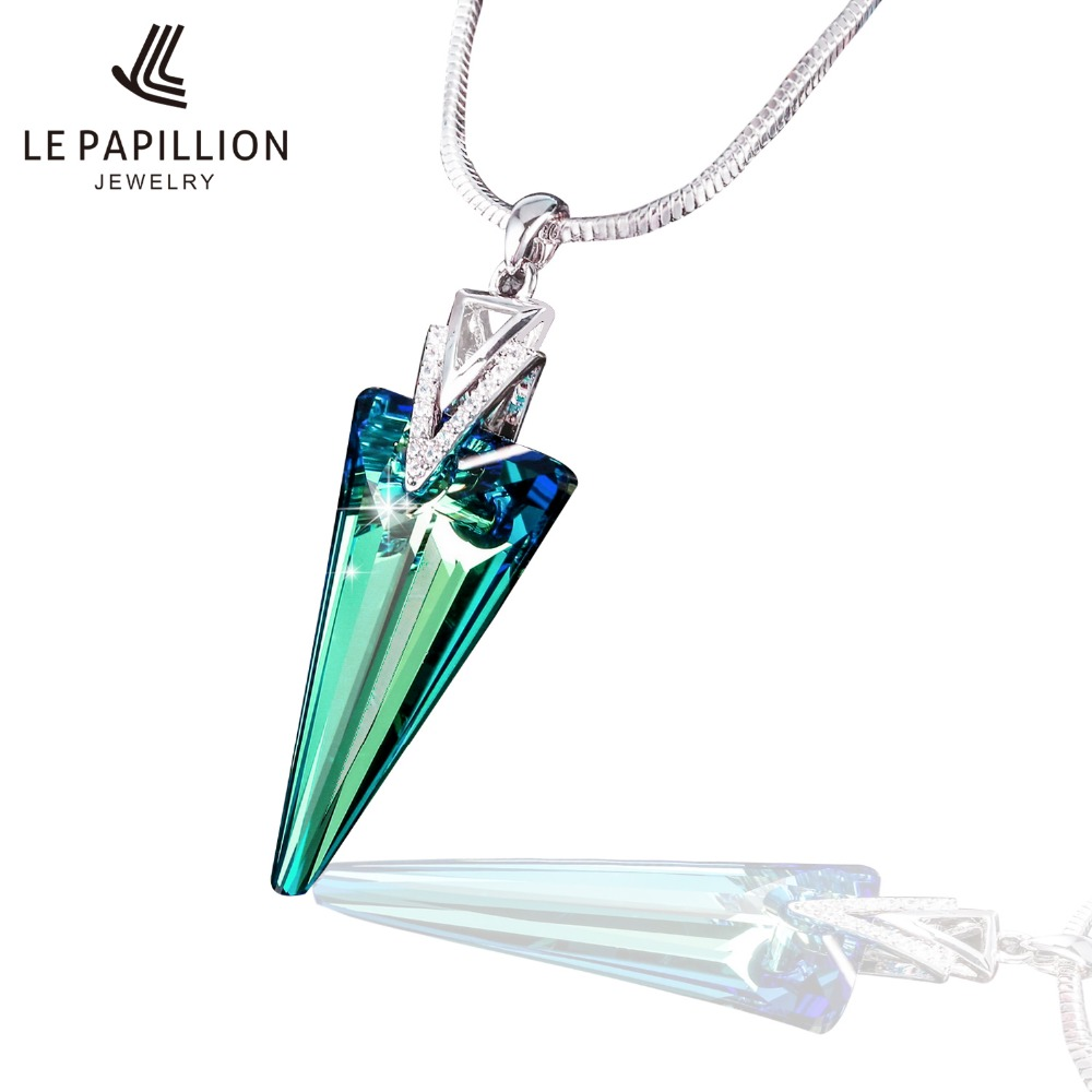 LEPAPILLION Women Necklace Fine Jewelry Made with Swarovski Crystal Triangle Pendant Necklace with Snake Chain Mother