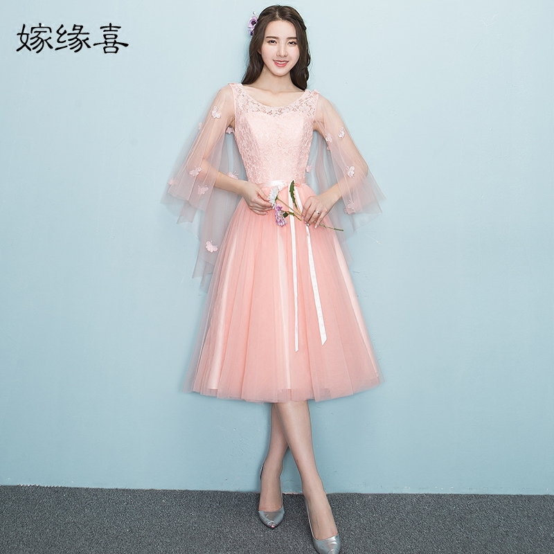 2017 new   Bridesmaid     Dresses   plus size stock cheap under $50 sexy romantic sister simple elegant fashion pink tea length JYX968FZ