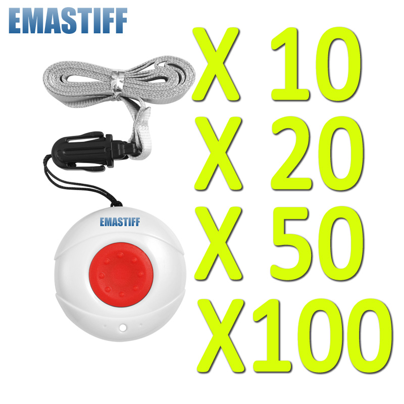 Waterproof Wireless 10/20/50/100 PCS Panic Button Emergency Button For System Security Emergency Calling& Doorbell System 433MHz wireless pager system 433 92mhz wireless restaurant table buzzer with monitor and watch receiver 3 display 42 call button
