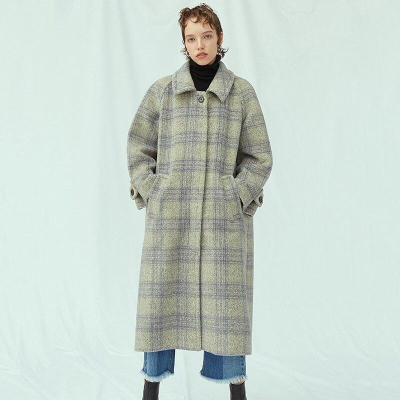 Printemps Marée Ji563 Nouveau Laine Femmes Gray eam 2019 Mode Grande Revers Lâche De Parkas Manteau Gris Taille Long Longues Pliad Manches FUCEwq