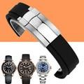 Aotu 20mm cinta para o relógio dos homens de borracha de silicone faixa de relógio extremidade curva implantação fecho fivela para rolexwatch oysterflex + ferramentas