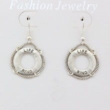 3pairs/lot LIFE RING Charm Earrings silver Fish Ear Hook  Antique Chandelier Jewelry DIY 21.8x40mm A-418e