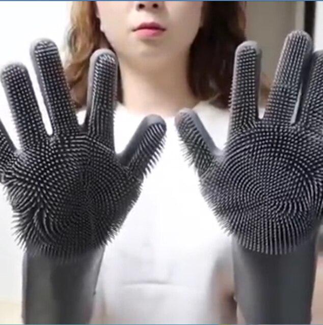 De silicona de grado de alimentos Multi-propósito perezosos guantes para lavar platos grueso durable conveniente cepillo de limpieza para el hogar
