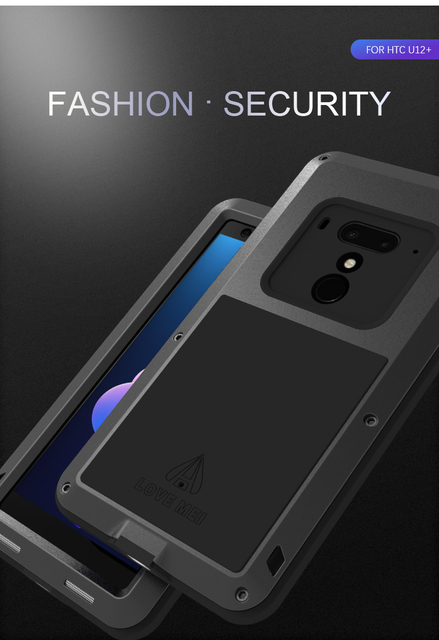 For HTC U12 plus Love Mei brand case For HTC U12+ anti knocked Metal Aluminum Rugged with free Tempered Gorilla Glass Case Cover