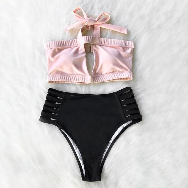936bcf12604d5 Cupshe Damsel Heart Halter High-waisted Bikini Set Swimsuit Bathing Suit  Brazilian Biquini Monokini Maillot De Bain