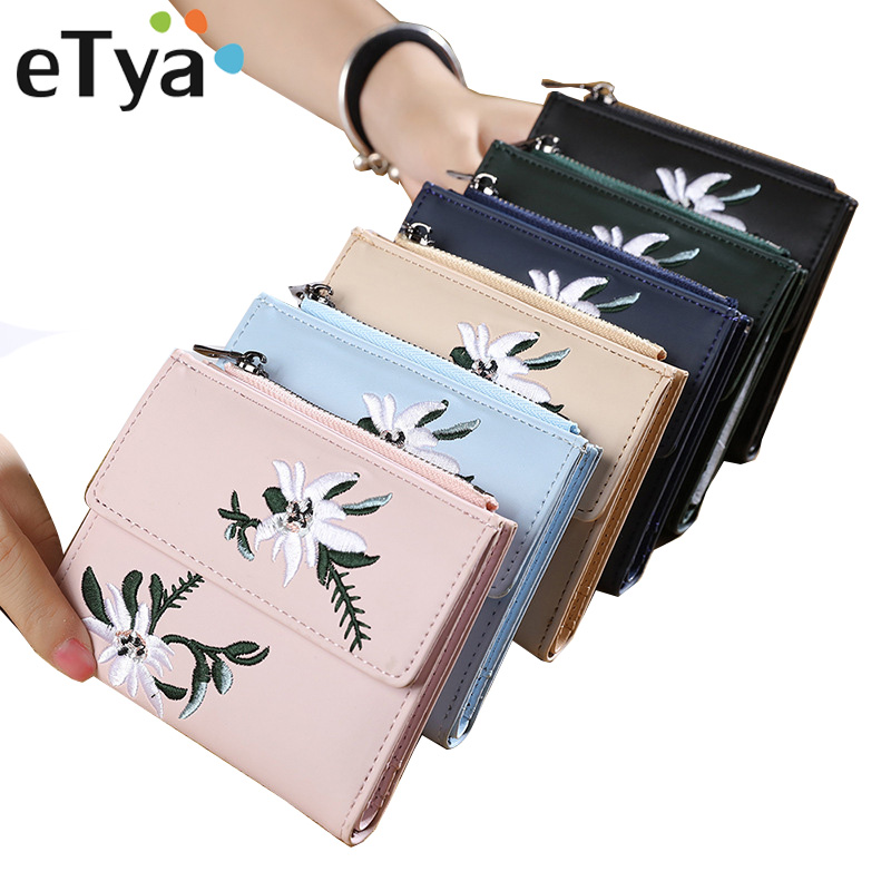 eTya Women Wallet Fashion Flowers Printing Female Leather Clutch Small Purses Womens Wallets with Card Holder Coin Purse Pockets app blog brand women s wallet new small clutch female purse fashion leather clutch wallets multi pockets coin bags for femme