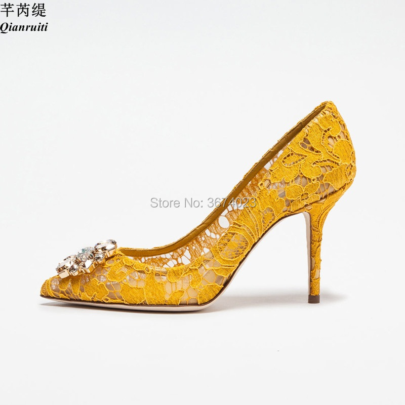 7df37581ee8 US $62.79 31% OFF Qianruiti Red Yellow Blue Lace Pumps topped Jeweled 9 CM  High Heels Pointed Toe Crystal Wedding Shoes Sexy Women Heels Shoes-in ...