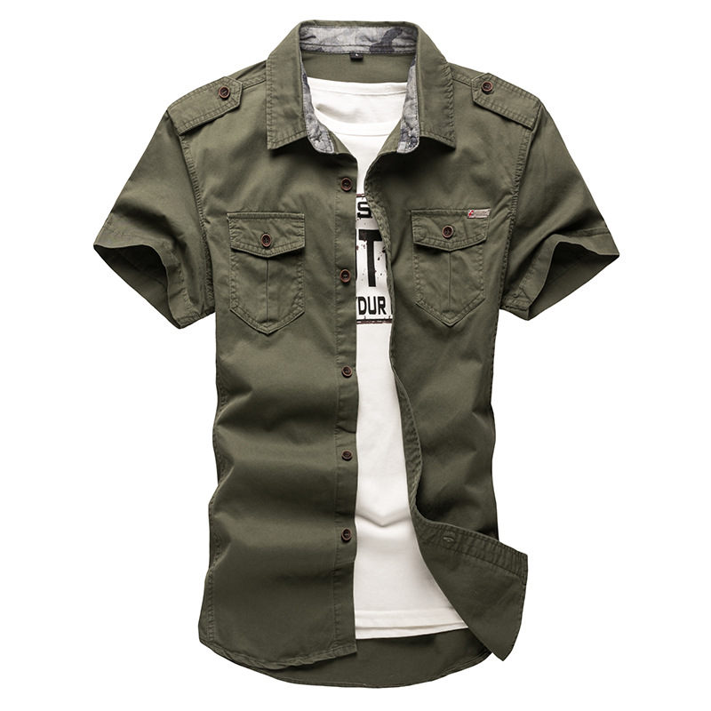 2020 New Men's Cargo Tactical Shirts 100% Cotton Short Sleeve Work Brand Military Shirt Chemise Plus Size 5XL