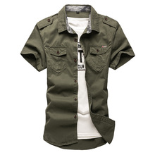 2020 New Mens Cargo Tactical Shirts 100% Cotton Short Sleeve Work Brand Military Shirt Chemise Plus size 5XL