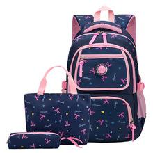 Wodoodporna dzieci torby szkolne dla dziewcząt ortopedyczne szkoła zestaw z plecakiem dziecięce plecaki Mochila tornister dla dzieci tornister tornister tanie tanio Nylon Floral zipper Dziewczyny girls bags set Delune