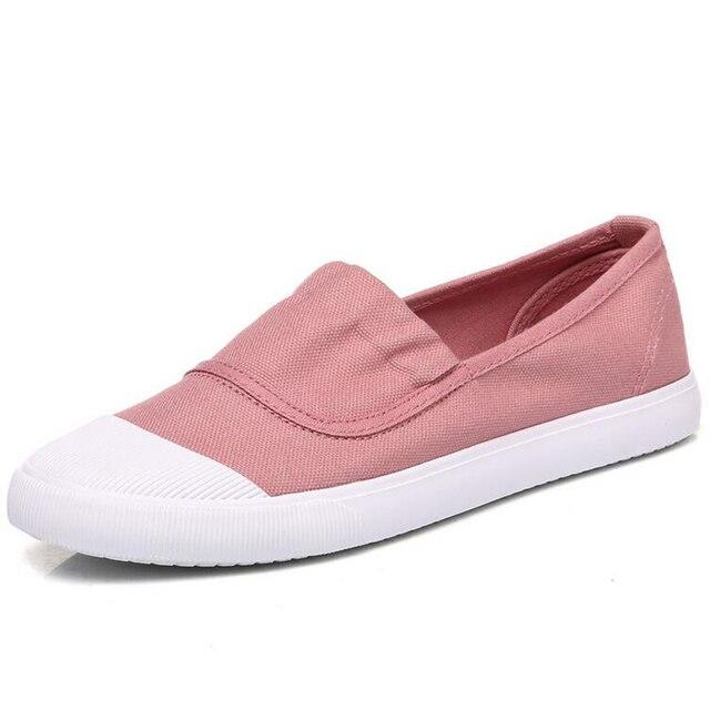 Горячие продажа 2017 мокасины удобные скольжения на женской обуви новая весна сплошной цвет chaussure femme дышащий холст повседневная обувь