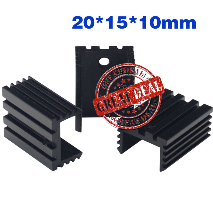 Free Ship Wholesale 100PCS Aluminum Heatsink U Type To220 Heatsink 20*15*10mm  7805 Heat Sink Black