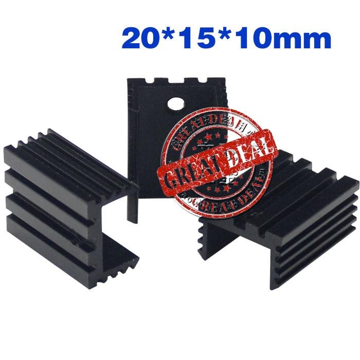 Free Ship Wholesale 100PCS Aluminum Heatsink U Type To220 Heatsink 20*15*10mm  7805 Heat Sink Black