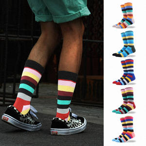Happy-Socks Meias Calcetines Business-Skateboard Hip-Hop Creative Stripe 60pairs Wholesale