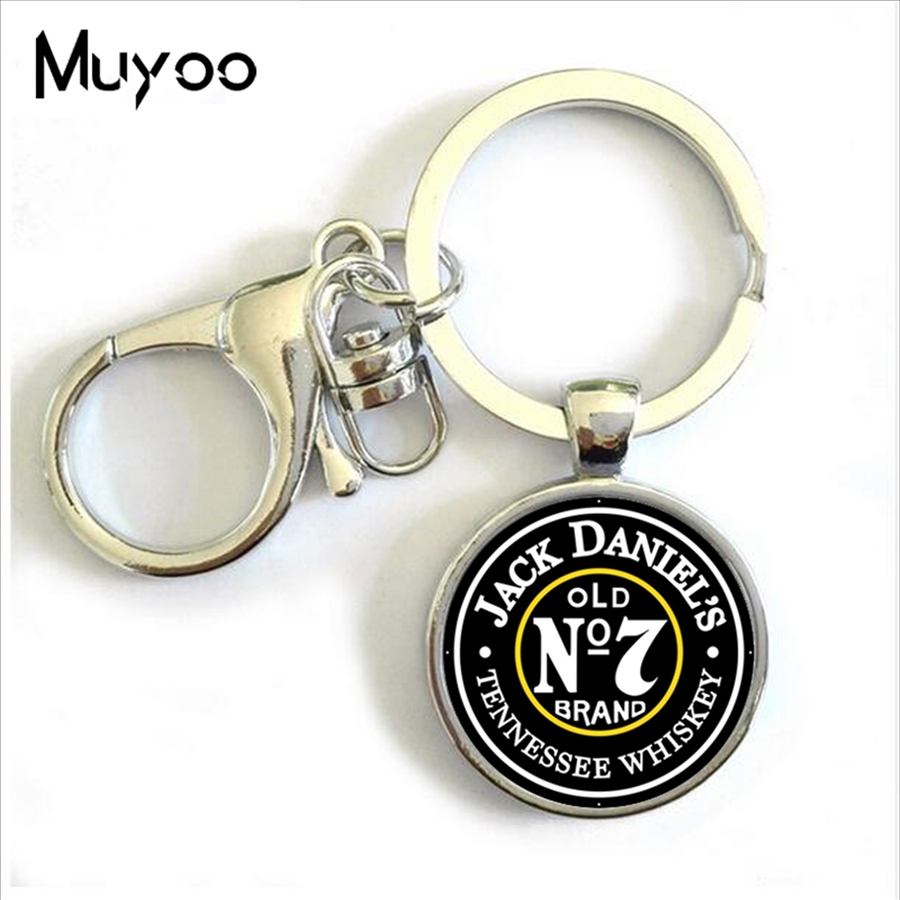 man jewelry No 7 Jack daniels Keychain Cabochon Whiskey Bacardi Key Ring Metal Glass Key Chain