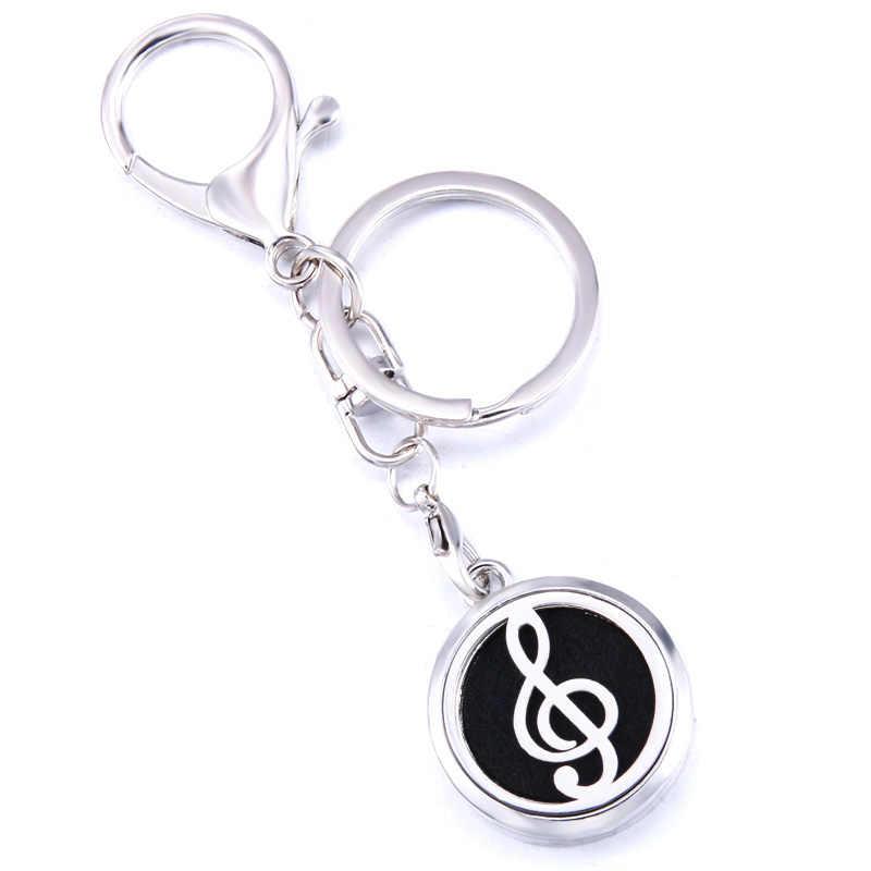 מוסיקלי הערה ארומה Keychain Keyring פתוח תליון נירוסטה בושם ארומתרפיה חיוני שמן מפזר רכב Keychain תכשיטים