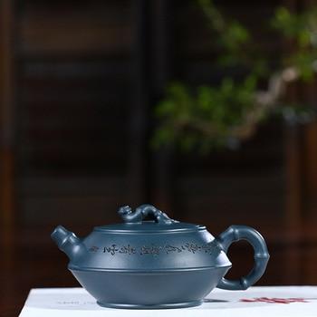 Yixing purple clay pot genuine famous artisans hand-made raw ore dark green mud bamboo jug kungfu tea pot gift