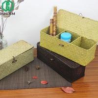 WHISM Sea Grass Storage Basket Handmade Basket With Cover Rattan Storage Bin Straw Woven Sundries Holder
