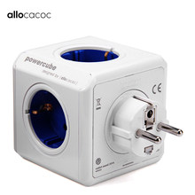 Allocacoc Smart Home Wireless Soket Listrik Adaptor Plug PowerCube Uni Eropa Plug Power Strip Port USB Perjalanan Ekstensi Multi Switch(China)