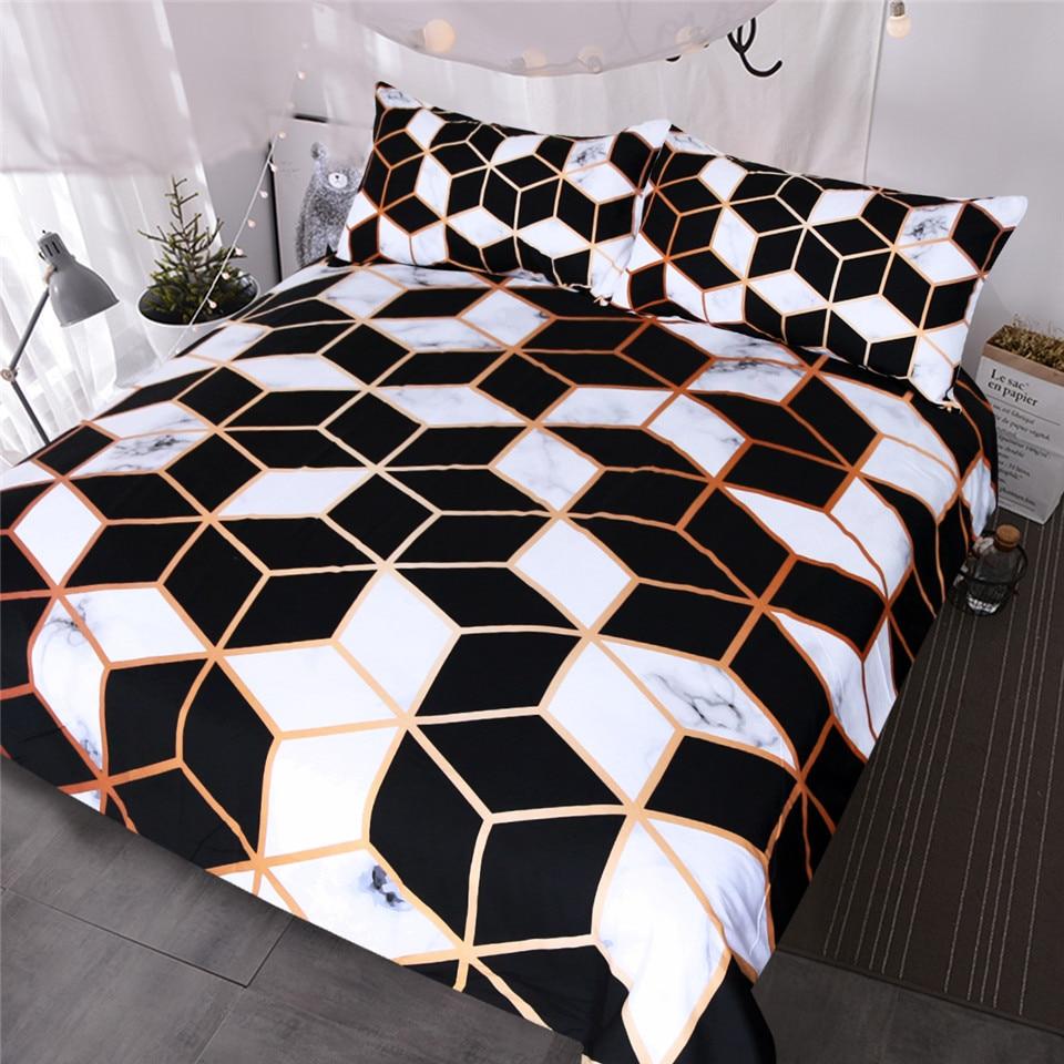 BlessLiving Geometric Bedding Set Black White Duvet Cover Set Marble Print Blocks Cube Bed Cover Fashionable