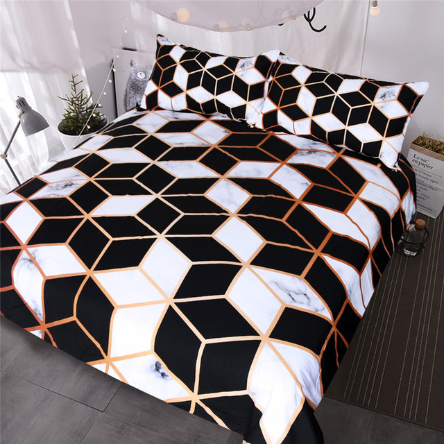 BlessLiving Geometrica Set di Biancheria Da Letto Nero Bianco Duvet Cover Set di