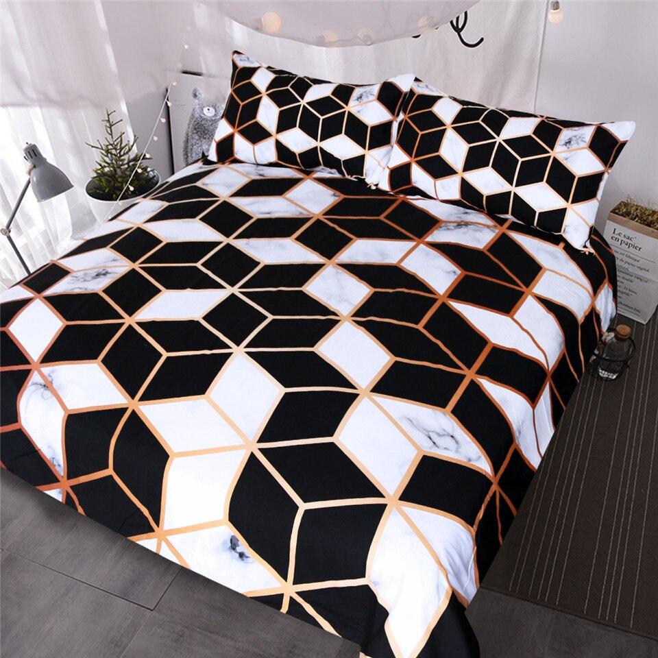 BlessLiving Geometrische Bettwäsche Set Schwarz Weiß Bettbezug-set Marmor Drucken Blöcke Cube Bett Abdeckung Modische Bettdecken Königin