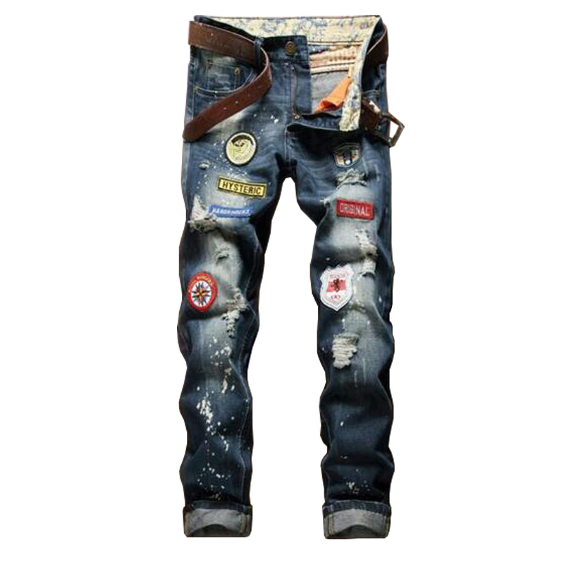 2016 Mens Ripped Jeans Vintage Patchwork Hole Jeans Fashion Mens Slim fit Straight Jeans P3097
