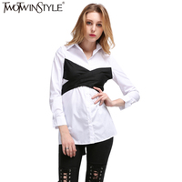 TWOTWINSTYLE 2017 Summer Bow Top Female Blouse Women S Shirt Lace Up Blouses Tops Clothes Fake