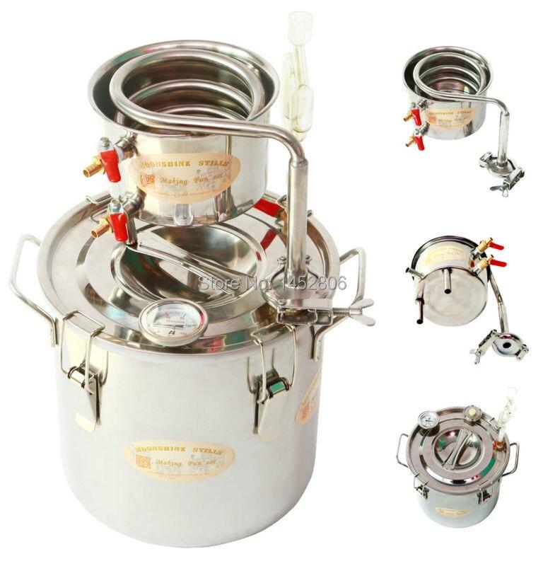 Super Nouveau 3 Gal/12 Litres D'alcool Whisky Eau Distillateur Moonshine Toujours Chaudière En Acier Inoxydable & Thumper Keg Spiritueux brew Kit