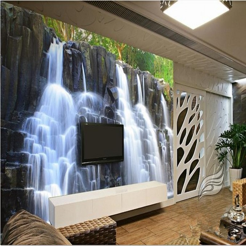 living room waterfall 3d stereoscopic wallpaper mountain amp water 10718