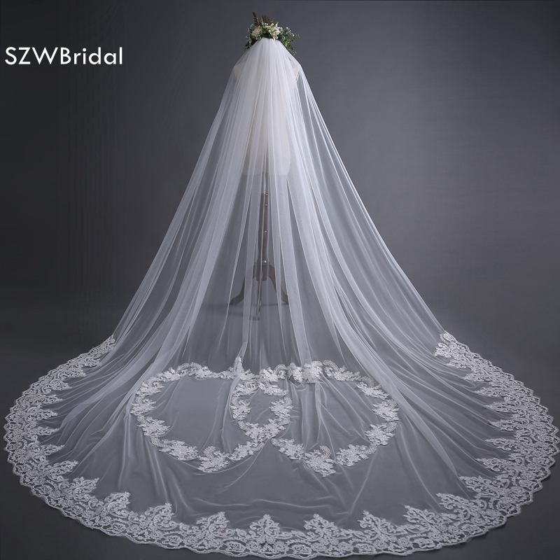 SZWBridal Fashion 3 Meter Wedding Veil Long Lace Edge Bridal Veils Off White Velo De Novia Wedding Accessories Veu De Noiva
