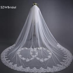 SZWBridal Мода 3 метров свадебная фата Длинные кайма из кружева, Свадебная Фата фаты off White вело де novia Свадебные аксессуары Veu noiva